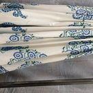 Garden Umbrella Blue Floral Patio Parasol Block Printed Large Umbrella,Beach Cafe Outdoor Umbrella,White Sun Shade Patio Mughal Umbrella