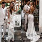 Robe De Mariee Bohemian Long Sleeve Lace Mermaid Wedding Dresses Sexy V Neck Skin Lining Elegant Bridal Gowns Country Boho Wedding Dress Canada 2021 From Elegantdresses,  CAD $$261.51   DHgate Canada