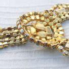 Vintage 1950s Gold tone Aqua Blue Crystal Diamanté 5 Row Pendant Necklace