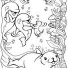 Kleurplaat dolfijnen met zeehond. Gratis kleurplaten om te printen