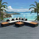 ZUN 8 Piece Garden Lounge Set with Cushions Poly Rattan Black 42756