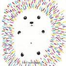 Hedgehog Print Colorful Hedgehog Illustration Hedgehog Art | Etsy