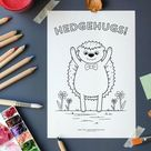 Hedgehugs printable colouring sheet, Hedgehog digital download colouring page