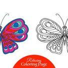 Dekorative Schmetterling. Malbuch für Erwachsene und ältere Kinder. Malvorlage mit farbigen Probe. Umrisszeichnung. Vektor-Illustration.