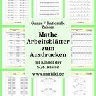 Ganze / Rationale Zahlen   Mathe Arbeitsblätter zum Ausdrucken