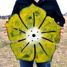 Metal wall hanging flower - Yellow magnetic board - Flower note board - outdoor metal wall art - Florist shop decor - Privacy fence decor