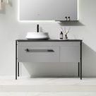 Contemporary Freestanding Bathroom Vanity Stone Top with Counter Sink & Drawer