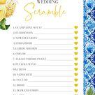 Lemon Blue Tile Mediterranean Positano Wedding Scramble Bridal Shower Games Blue Tile Bridal Shower