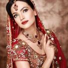 Aamina Sheikh in red bridal dress