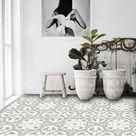 Vinyl Floor Tile Sticker - Floor decals - Carreaux Ciment Encaustic Trefle Tile Sticker Pack in Thistle