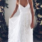 Halter Empire White Lace Prom/Evening Dress,Beach Lace Wedding Dress Informal,White Lace Maxi Dress