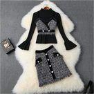 Ensemble tweed veste et jupe à carreaux - gris et noir / M