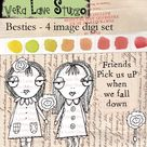 Besties: Best friends digi stamp set with sentiment for instant download in jpg and png files