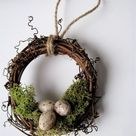 Rustic Wreath Ornament Nest with Moss and Eggs