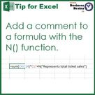 Microsoft Excel » Comment Excel formulas with the N function » Business Brains