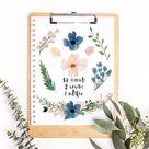 Beautiful Free Watercolor Flowers - Blush & Navy - Fox + Hazel