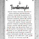 Druck FINE ART Bild Poster FAMILIENREGELN 1 Print DIN A4 DIN A3