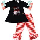Baby Toddler Little Girls Valentines Day All You Need Is Love and Cupcakes Tunic Pant Set Black/Stripes - 10 - 12 Years