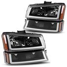 Headlight Assembly Compatible with 2003-2006 Chevy Avalanche / 2003-2007 Chevy Silverado 1500HD / 2003-2006 Chevy Silverado 2500HD Headlamp - Black Housing