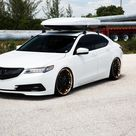 Diamond White Acura TLX on Black Rotiform Wheels