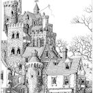 Castle in a village - Architecture and Living Coloring Pages for Adults - Just Color