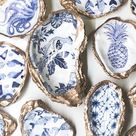 Statement Oyster Shell™ Ring Dish Holder Salt and Pepper Chinoiserie Trinket Hostess Gift Something Blue Coastal Decor Jewelry Catch All