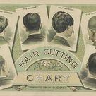 Mens Hair Style Chart, late 1800s - 17x26
