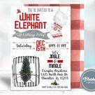 White Elephant Christmas Invitation, Printable Christmas Invitations, White Elephant Party Invite, Instant Download, Self Editable, Templett