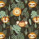 JUNGLE LIFE PORTRAIT ANIMALS   Animals children's fabric   Scandinavian seamless pattern   Sloth