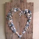 Shell Heart Sign Beach Sign Shell Art Beach Wedding Sign   Etsy