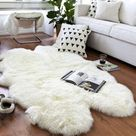 Beautiful White Real SHEEPSKIN rug   Natural Humanely Sourced   White Sheepskin Throw  Scandinavian Style Rustic Home Decor  Sheepskin Cover