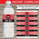 Ninja Water Bottle Labels template – red