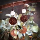 Hammered copper moon phase earrings with calcite beads