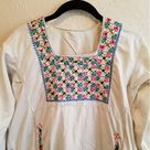 Vintage Boho Ethnic Embroidered Wedding Dress This hand made wedding dress is VERY old the woman from whom I bought it purchased it 50 years ago in Jerusalem & said it was at least 50 years old when she got it as a Pakistaian wedding gown. Has MANY stains