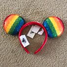 Disney Accessories   Nwt Mickey Mouse Rainbow Pride Headband Ears   Color: Red/Yellow   Size: Os
