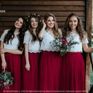Burgundy Bridesmaids Separates, Waterfall Tulle Skirt and Belle Lace Top with Silk Under top available in Plus Sizes