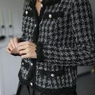 ZAFUL Plaid Pearly Button Up Tweed Jacket S Black