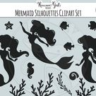 Mermaid Silhouette Clipart Set
