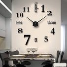 Mirror Surface Decorative Clock 3D DIY Wall Clock for Living Room Bedroom Office Hotel Wall Decoration Gifts - Black