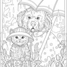 Dressed Pets Free Coloring Pages
