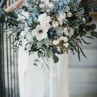 BSABA | Light blue white flower bouquet / Boho floral wedding greenery bunch for bride / Wild bridal bohemian, preserved eucalyptus
