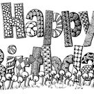 Art Therapy coloring page Happy Birthday  5