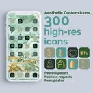 Lavish in Emerald and Gold   300 Aesthetic Custom App icons pack   iPhone iOS 14   Minimal Lifestyle App Covers   May Birthstone