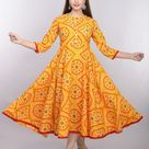 Printed Anarkali Wedding  Party Wear Long Top Tunic Button Down Kurta Kurti Girl Clothing Women Plus Size Kurta Indo Western Dress