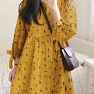 Floral Print 3/4 Sleeve Knotted O-neck Dress for Women