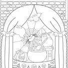 Pusheen halloween witch - Halloween Coloring Pages for Adults - Just Color