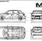 Audi A1 Sportback '2012   2D drawing blueprints   24058   Model COPY   English