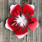 hawaiian hibiscus wall hanging sculpture - metal hawaiian style flower - red white hibiscus flower - outdoor hawaiian metal art - big flower