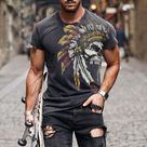 Chief Of The Indian Tribe Print Short Sleeve T-shirt
