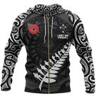 Anzac Tattoo New Zealand Hoodie, Lest We Forget Pullover Hoodie NNKANZ7 - Zipped Hoodie / 4XL